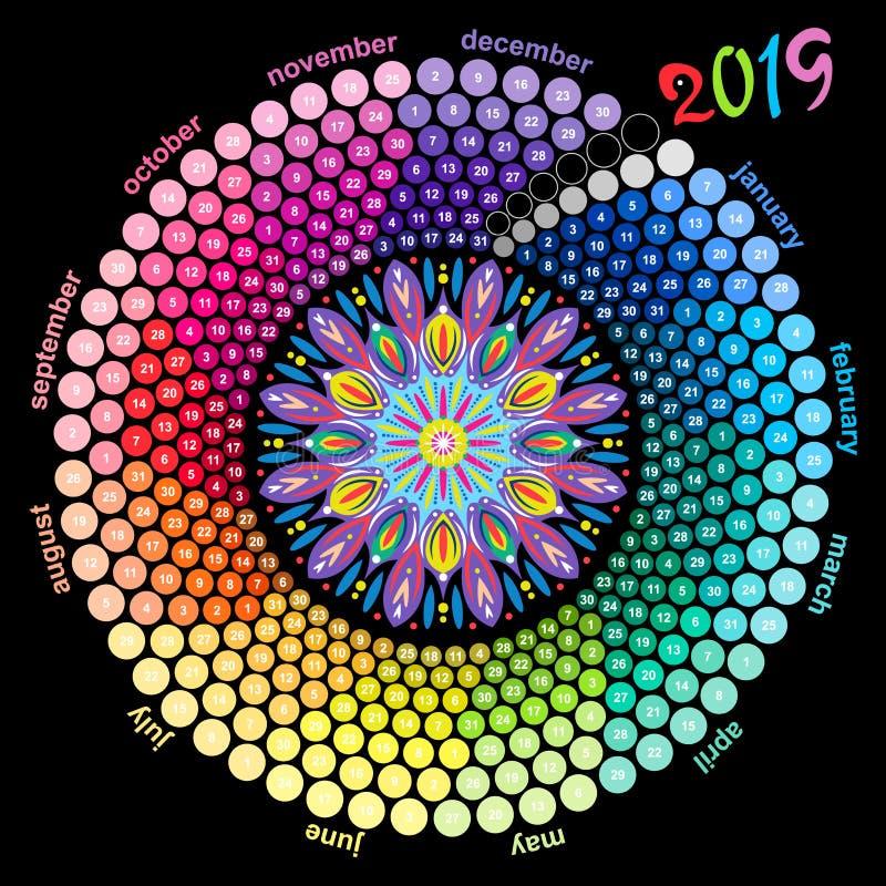 Calendario redondo 2019 en los colores del espectro en fondo negro ilustración del vector