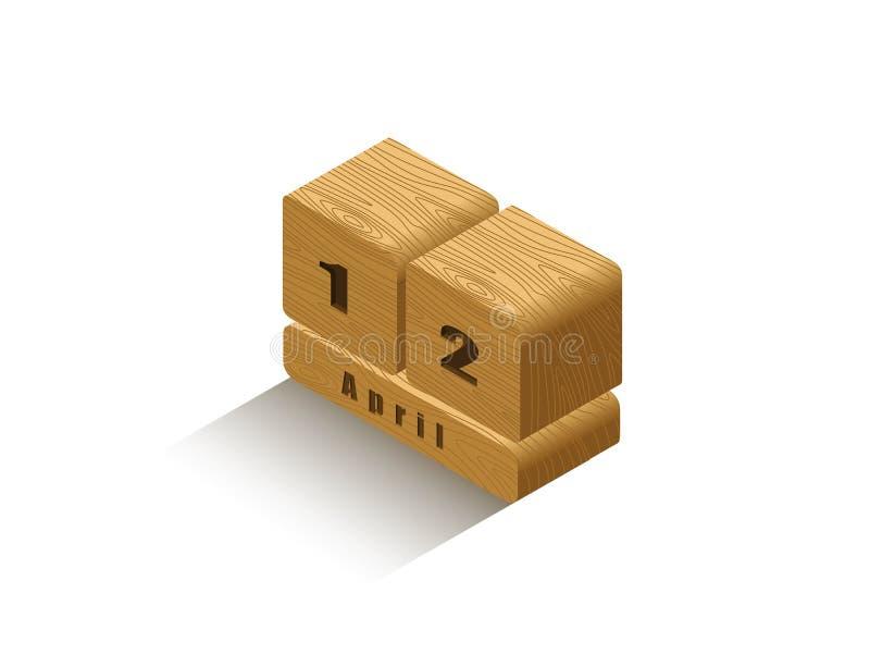 Calendario retro de madera isométrico del vector imagenes de archivo