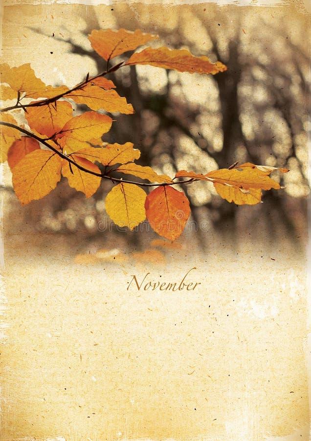 Calendario retro. Novembre. Paesaggio d'annata di autunno. fotografie stock