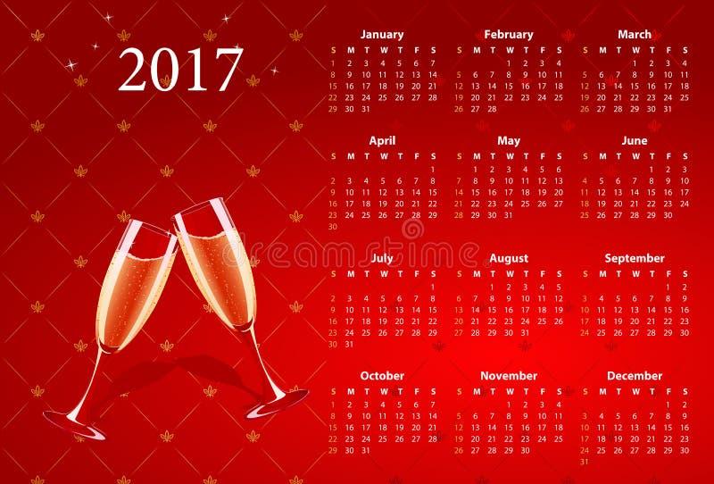 Calendario rojo 2017 del vector con los vidrios del champán ilustración del vector