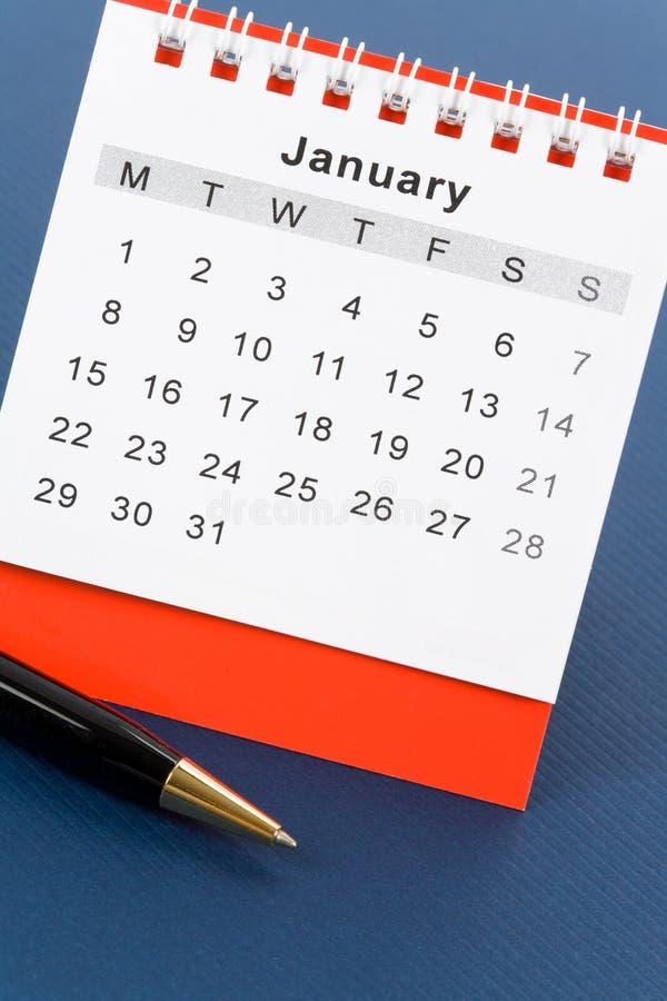 Calendario rojo enero fotografía de archivo