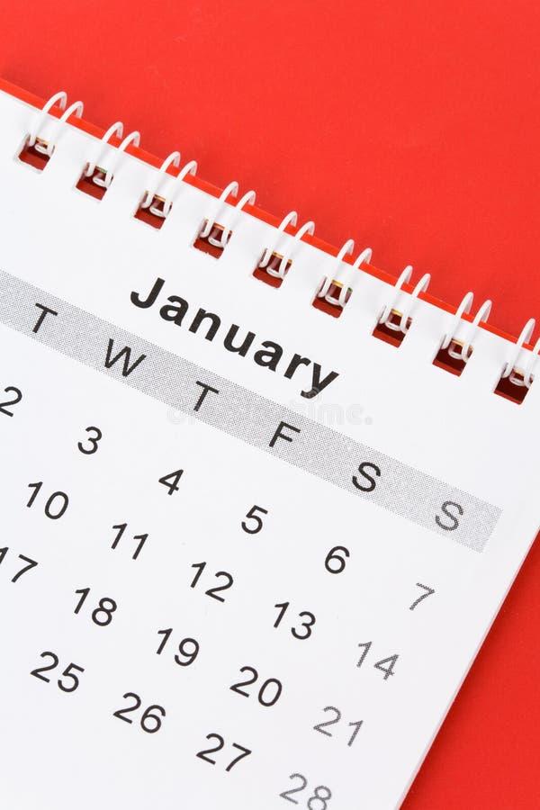 Calendario rojo enero fotos de archivo
