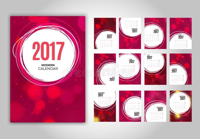 Calendario rosa mensile 2017 della parete royalty illustrazione gratis