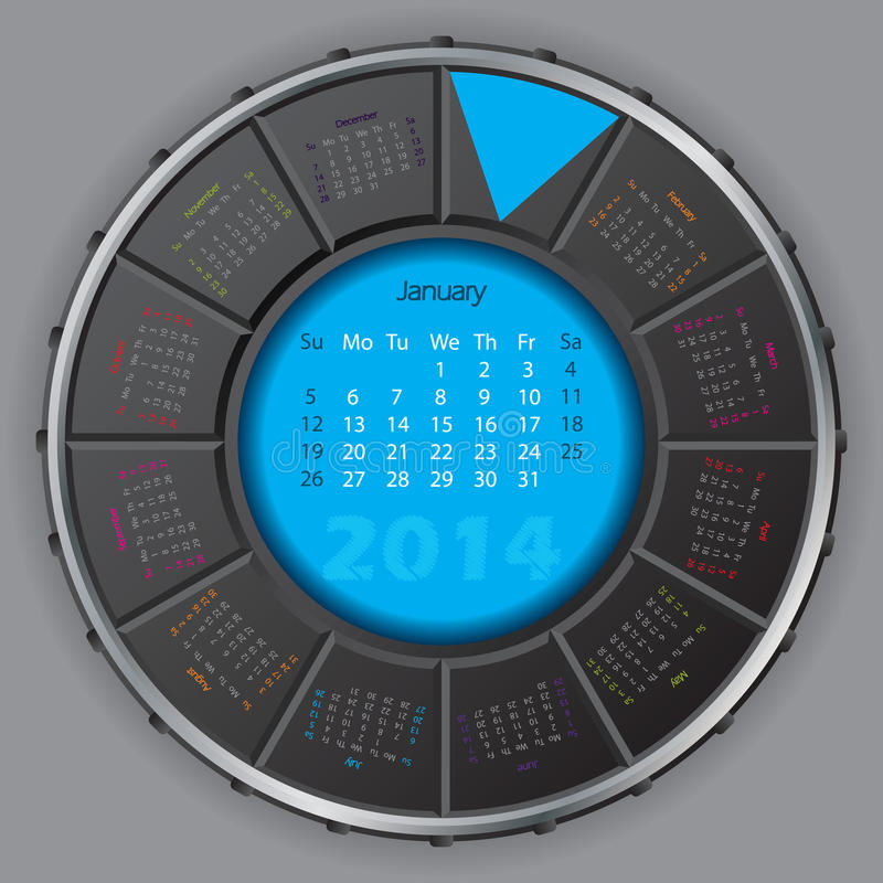 Calendario rotateable digital fresco para 2014 ilustración del vector