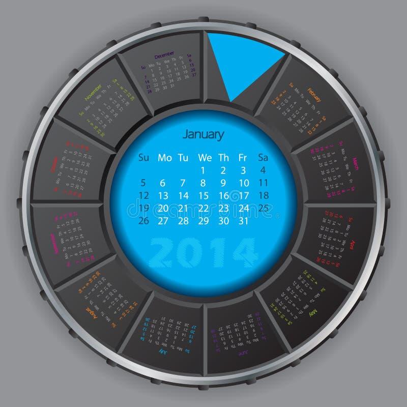 Calendario rotateable digitale fresco per 2014 illustrazione vettoriale