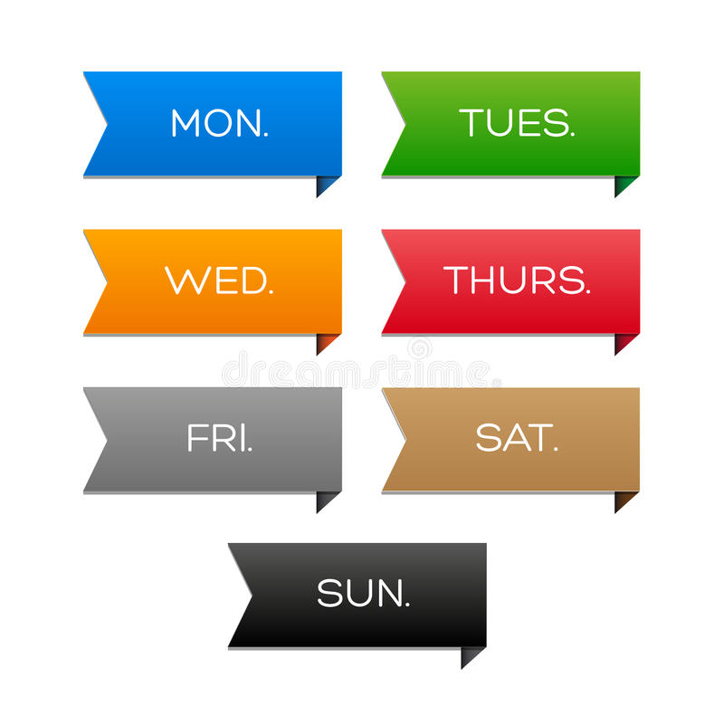 Calendario semanal con las cintas coloridas ilustración del vector
