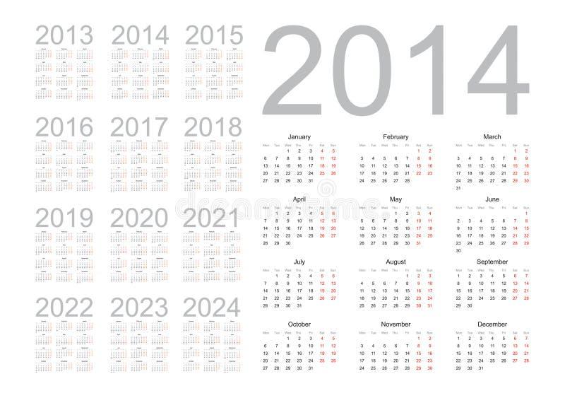 Calendario semplice 2014 illustrazione vettoriale