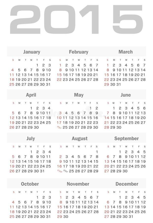 Calendario semplice per un vettore di 2015 anni illustrazione di stock