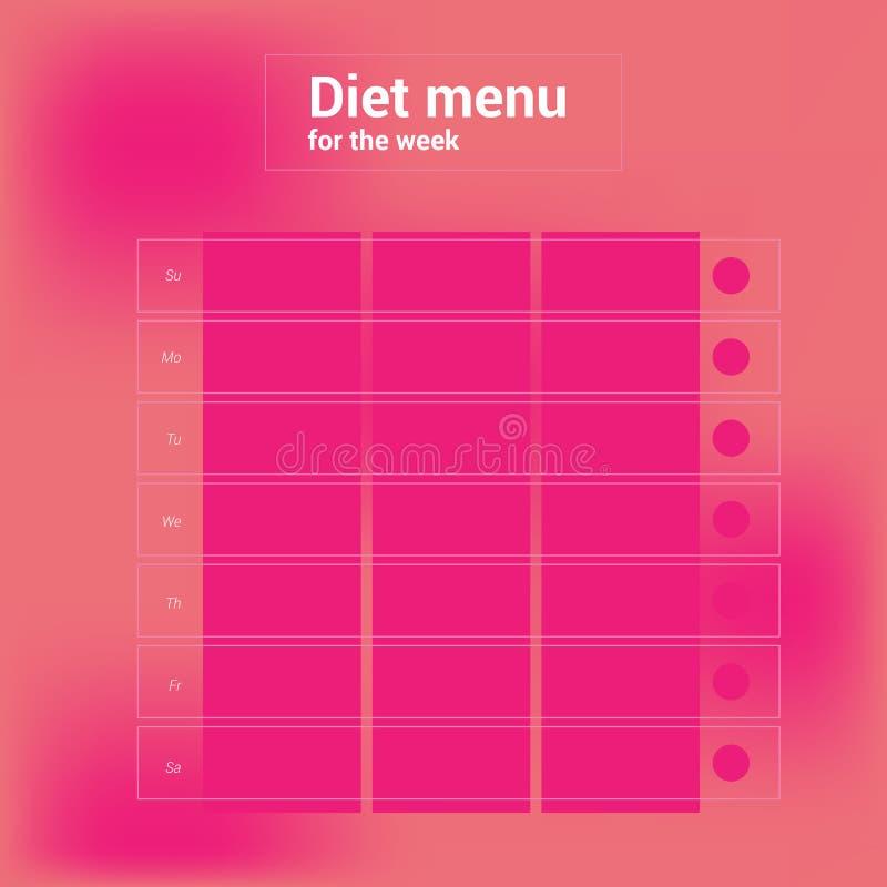 Calendario settimanale variopinto, menu di pianificazione del pasto Cena del pranzo della prima colazione royalty illustrazione gratis