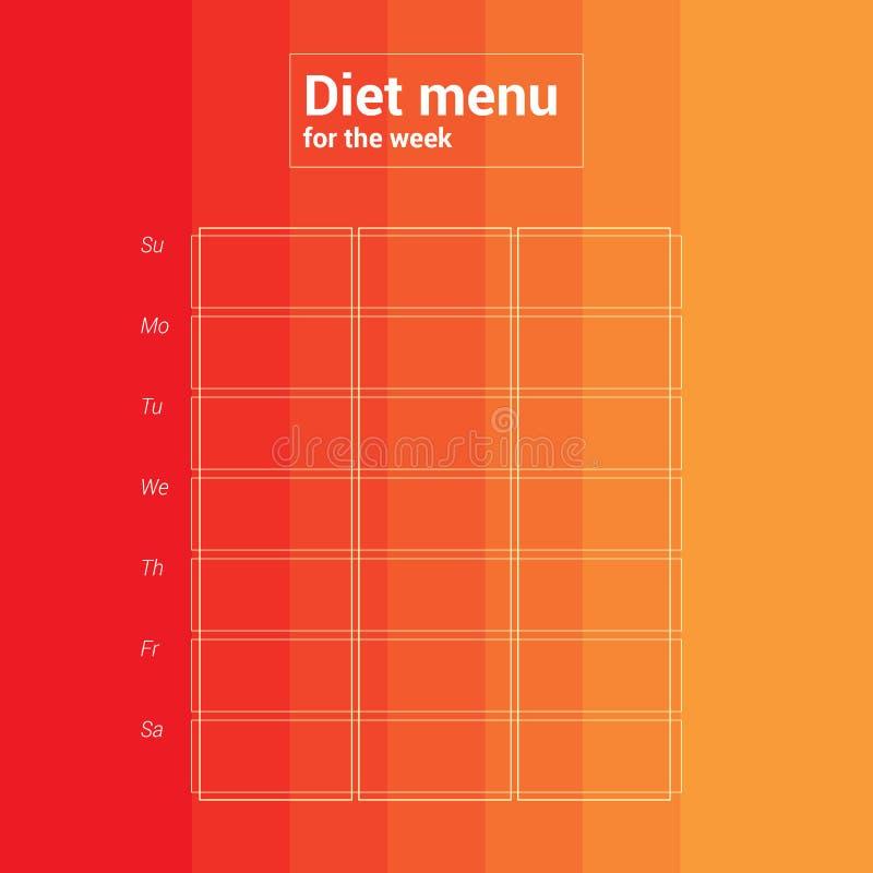 Calendario settimanale variopinto, menu di pianificazione del pasto Cena del pranzo della prima colazione illustrazione vettoriale