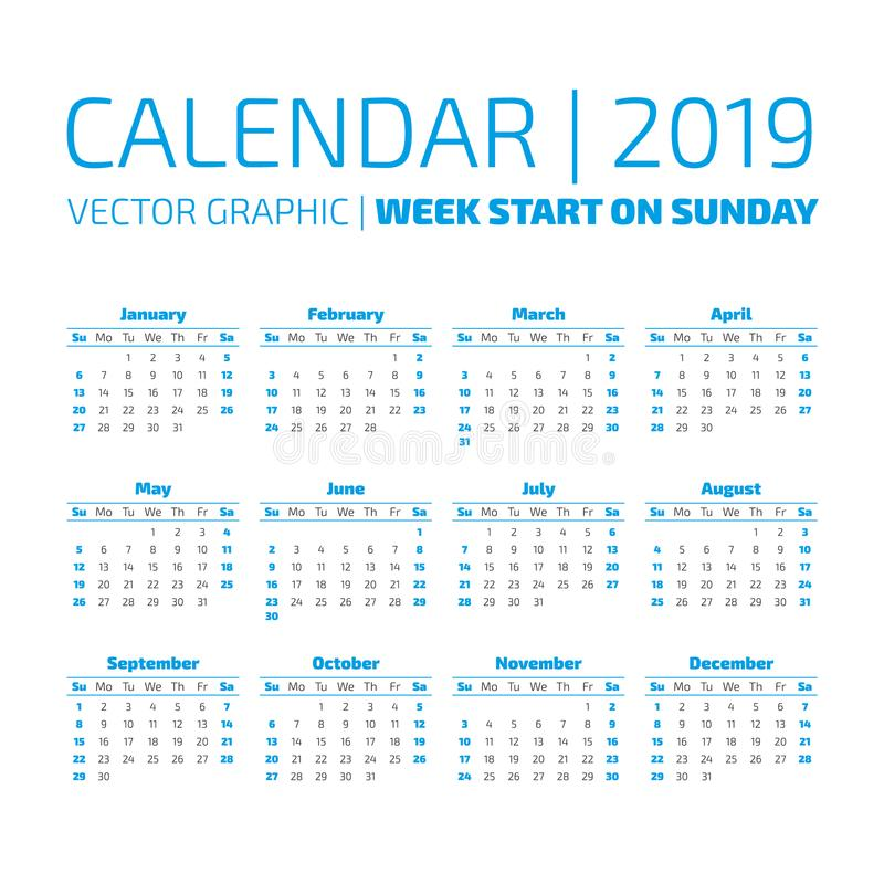 Calendario simple de 2019 años ilustración del vector