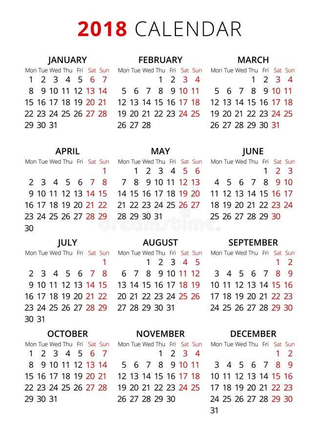 calendario simple del texto del estilo de 2018 años La semana empieza de lunes stock de ilustración