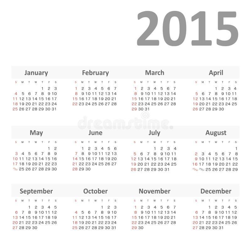 Calendario simple para el vector de 2015 años stock de ilustración