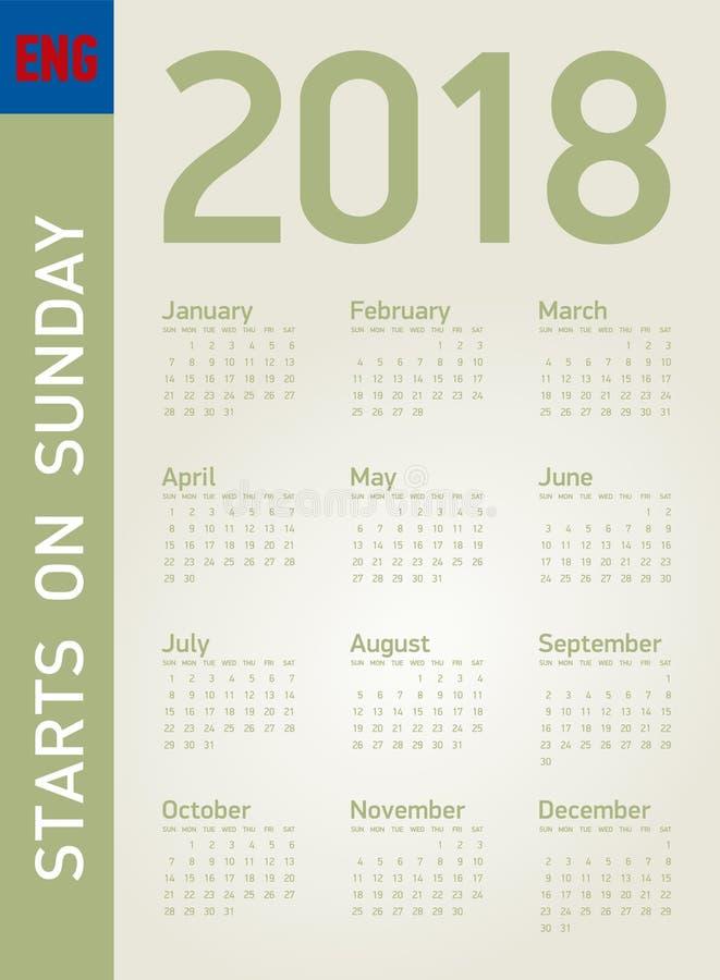 Calendario simple por el año 2018, en formato del vector stock de ilustración