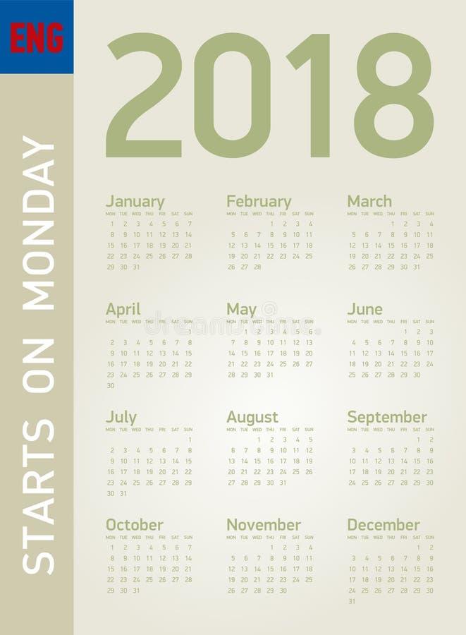 Calendario simple por el año 2018, en formato del vector libre illustration