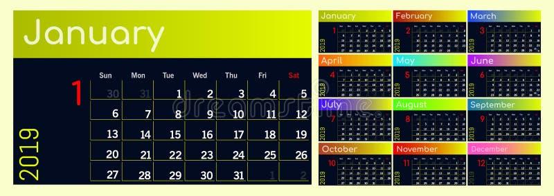 Calendario 2019 Sistema colorido Comienzo de la semana el domingo foto de archivo libre de regalías