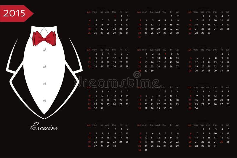 calendario Smoking di affari con un farfallino rosso illustrazione vettoriale