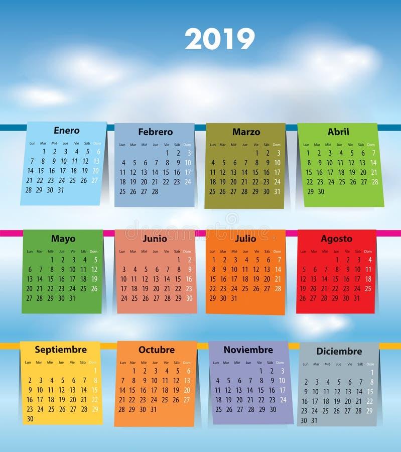 Calendario spagnolo per 2019 come la lavanderia immagini stock