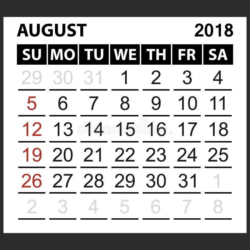 Calendario strato agosto 2018 royalty illustrazione gratis