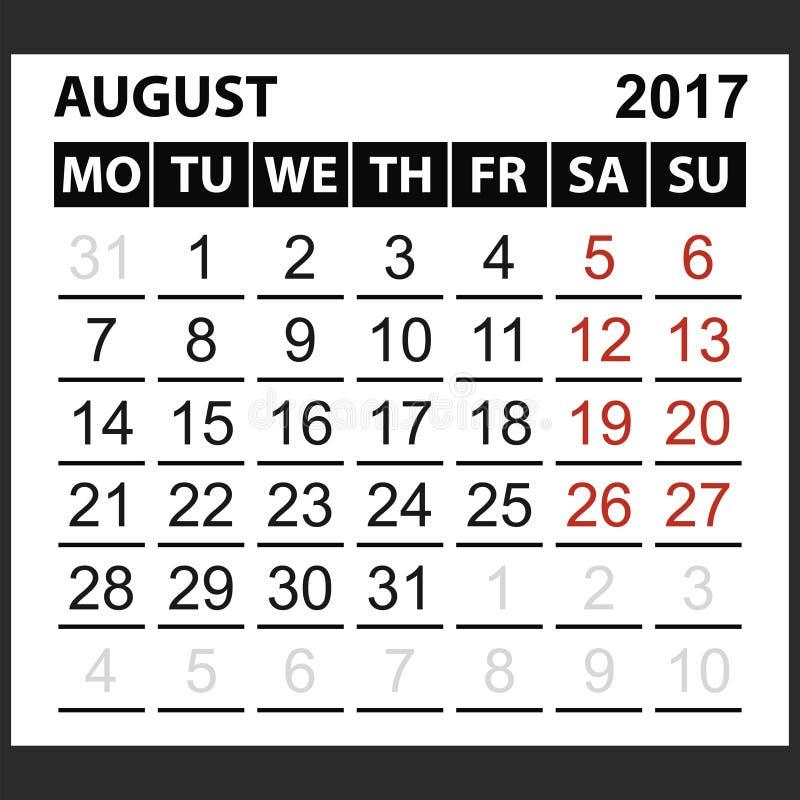 Calendario strato agosto 2017 illustrazione vettoriale