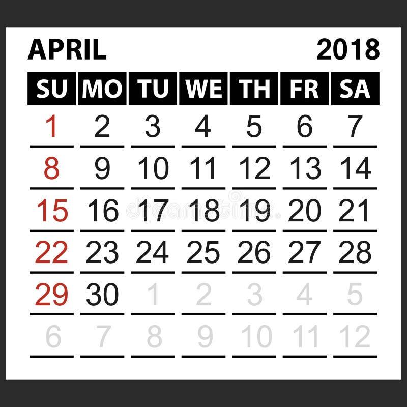Calendario strato aprile 2018 illustrazione vettoriale