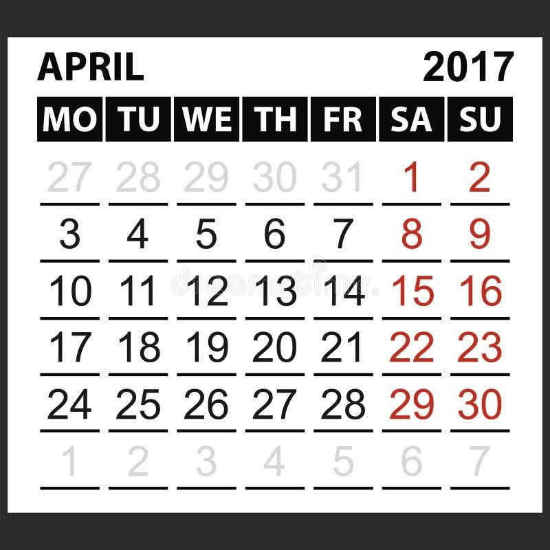 Calendario strato aprile 2017 illustrazione vettoriale