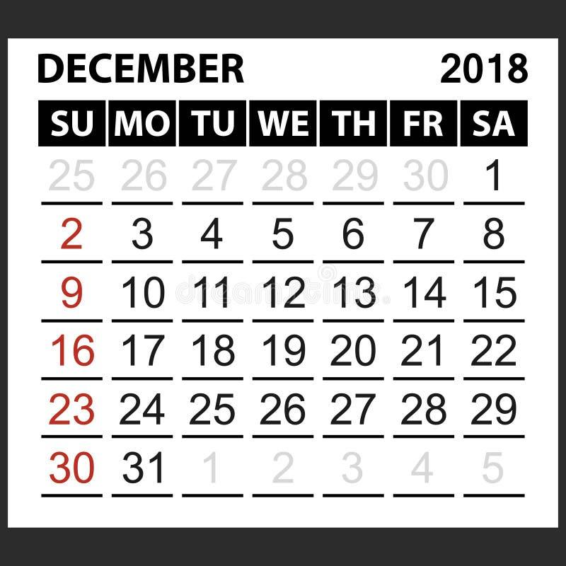 Calendario strato dicembre 2018 illustrazione di stock