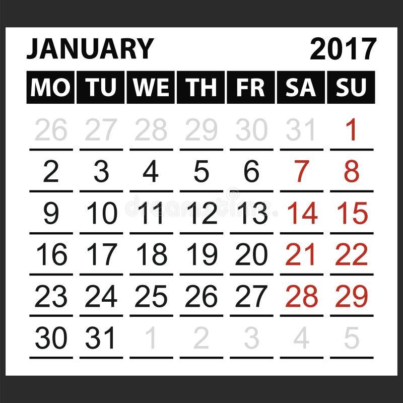 Calendario strato gennaio 2017 illustrazione vettoriale