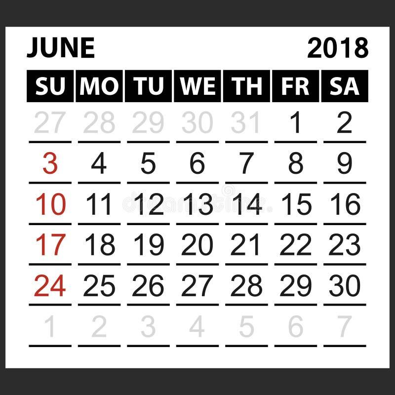 Calendario strato giugno 2018 illustrazione vettoriale