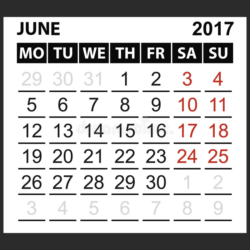 Calendario strato giugno 2017 illustrazione vettoriale