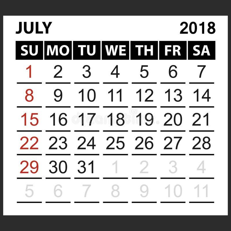 Calendario strato luglio 2018 illustrazione di stock