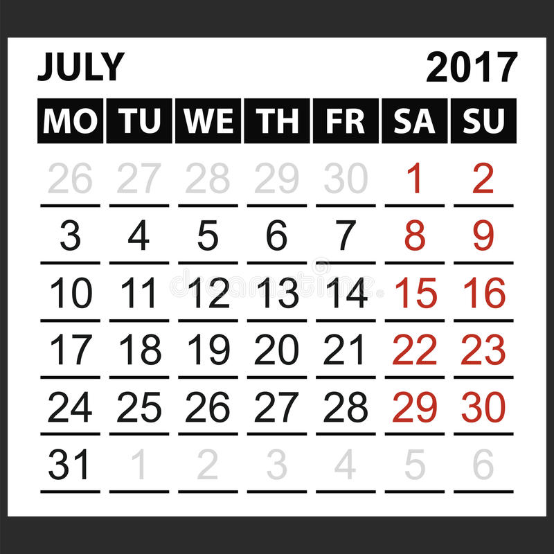 Calendario strato luglio 2017 illustrazione di stock