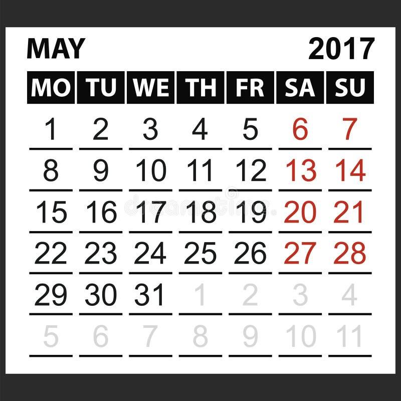 Calendario strato maggio 2017 illustrazione di stock