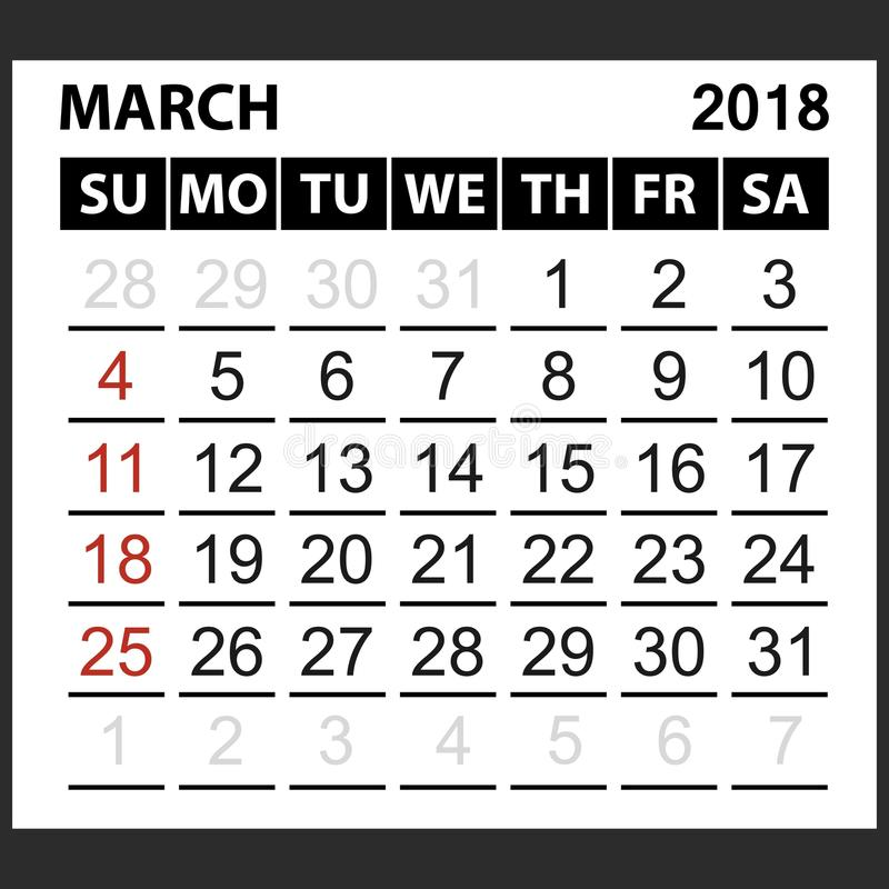 Calendario strato marzo 2018 illustrazione di stock
