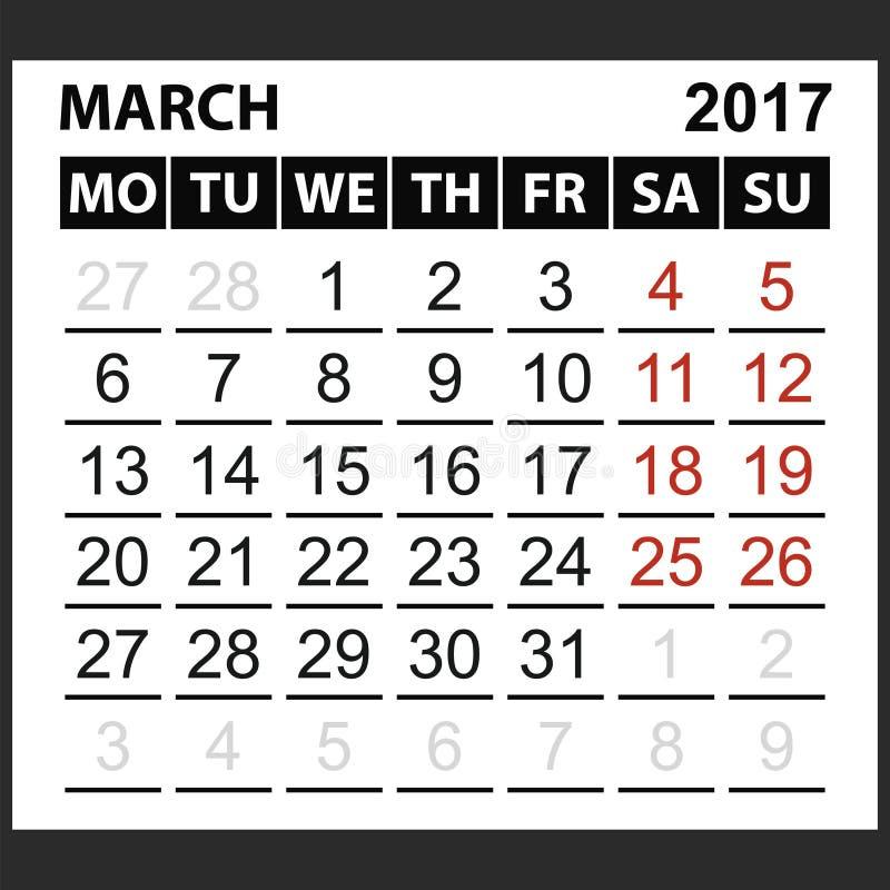 Calendario strato marzo 2017 illustrazione vettoriale