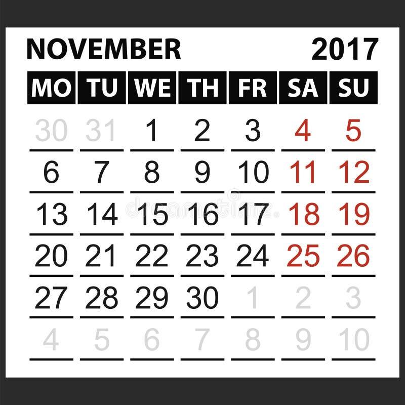 Calendario strato novembre 2017 illustrazione vettoriale