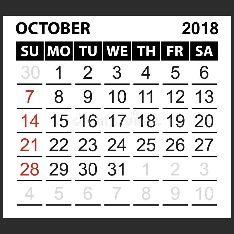 Calendario strato ottobre 2018 illustrazione vettoriale