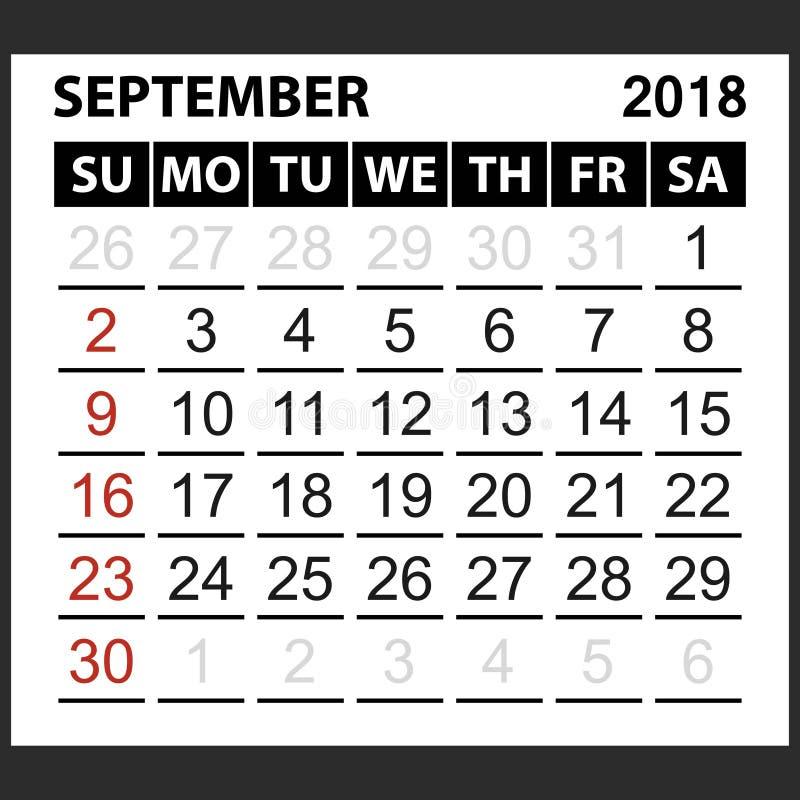 Calendario strato settembre 2018 illustrazione vettoriale