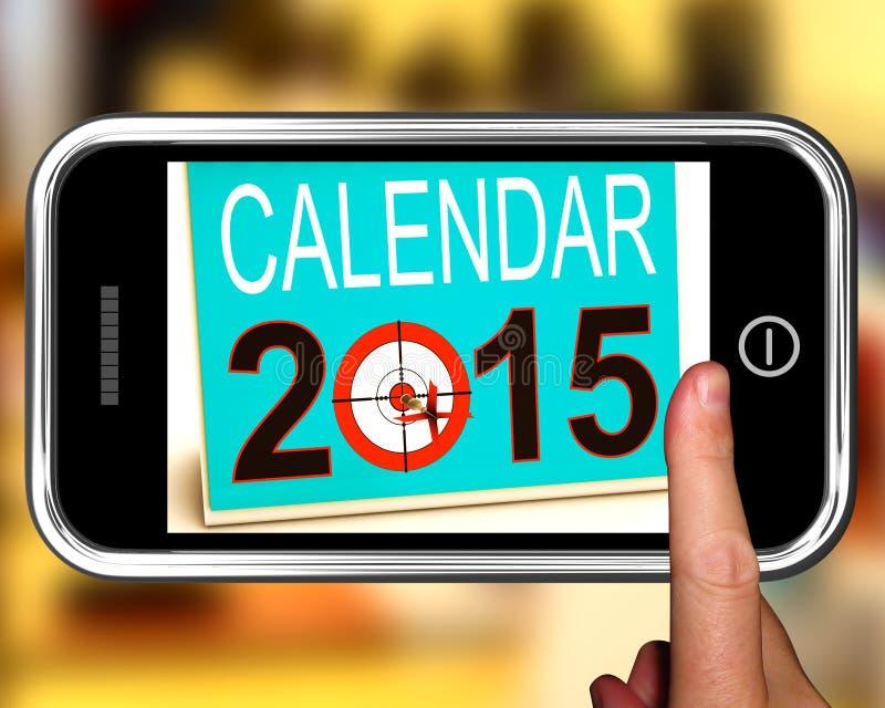 Calendario 2015 su Smartphone che mostra i progetti per il futuro illustrazione di stock