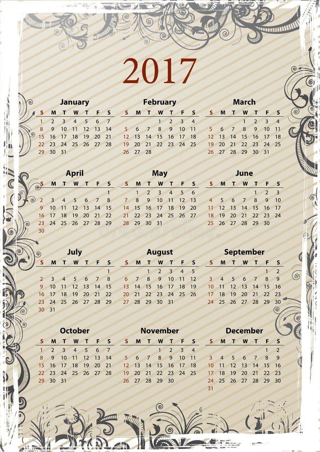 Calendario sucio 2017 del vector americano libre illustration