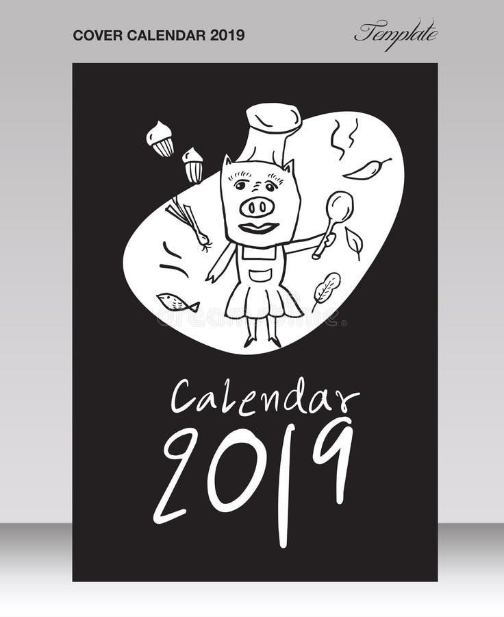 Calendario sveglio del maiale del modello di progettazione della copertura per 2019, segnante calendario con lettere, illustrazio illustrazione vettoriale