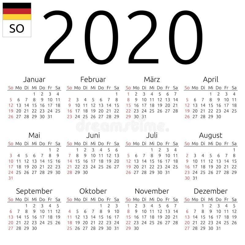 Calendario Uomini 2020.Calendario 2020 Giapponese Domenica Illustrazione