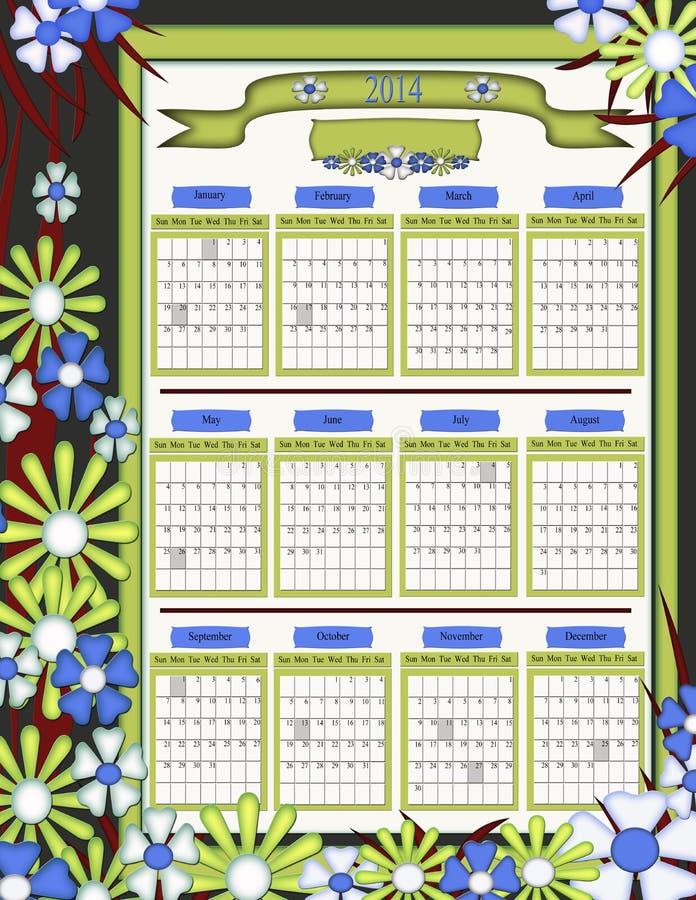 Calendario unico di disegno floreale 2014 royalty illustrazione gratis