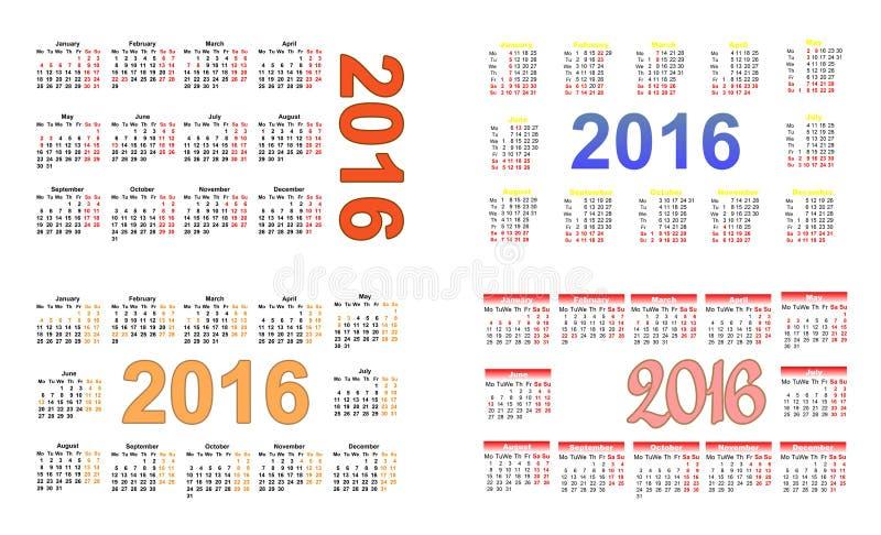 Calendario 2016 uno del bolsillo en cuatro imagenes de archivo