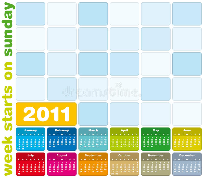 Calendario variopinto 2011 royalty illustrazione gratis