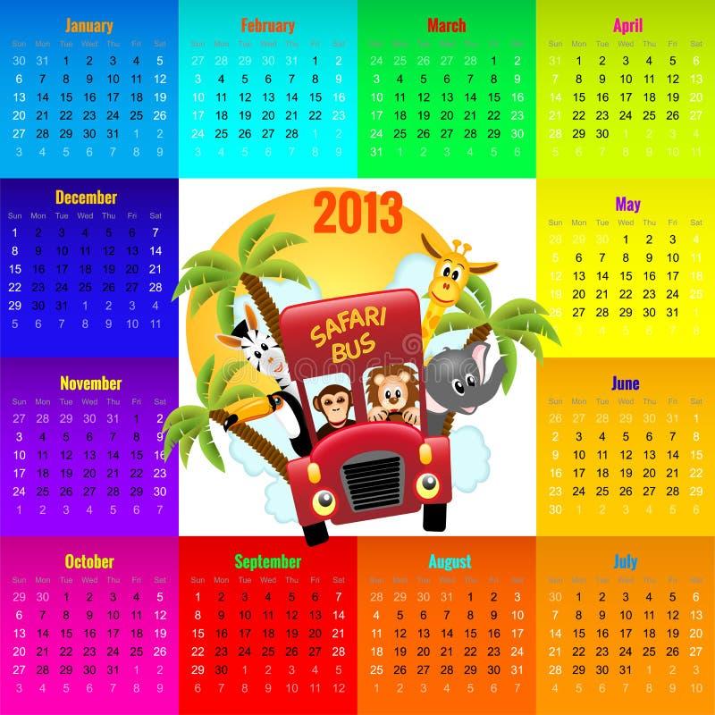 Calendario variopinto 2013 con gli animali che guidano bus rosso illustrazione vettoriale