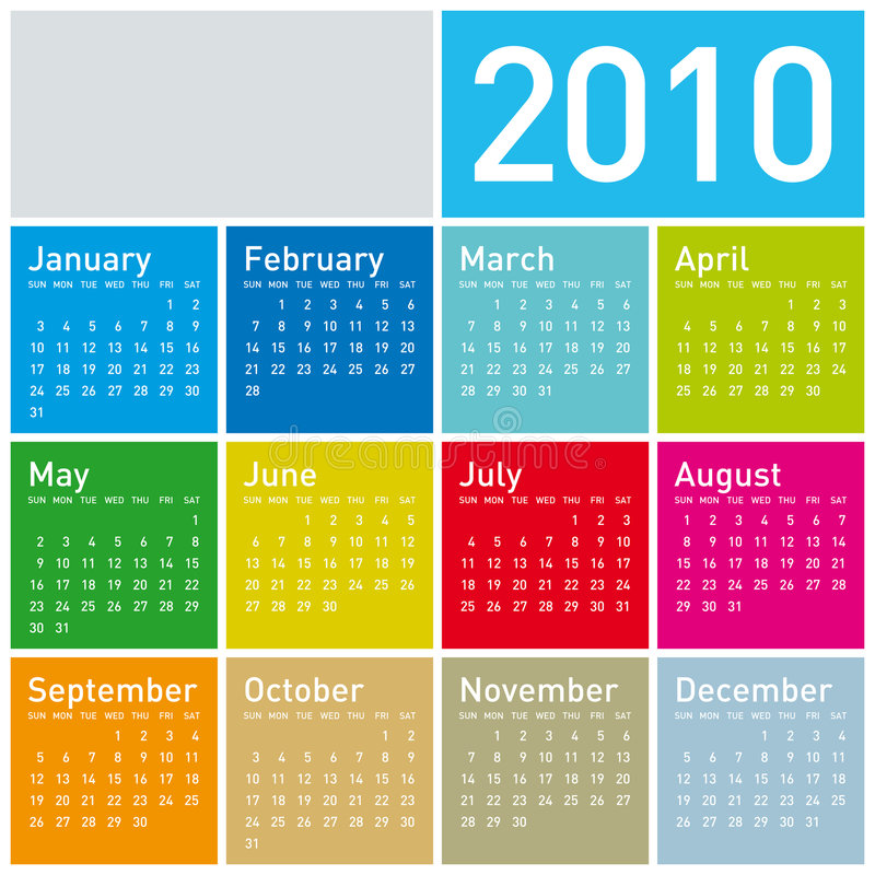 Calendario variopinto per 2010. royalty illustrazione gratis