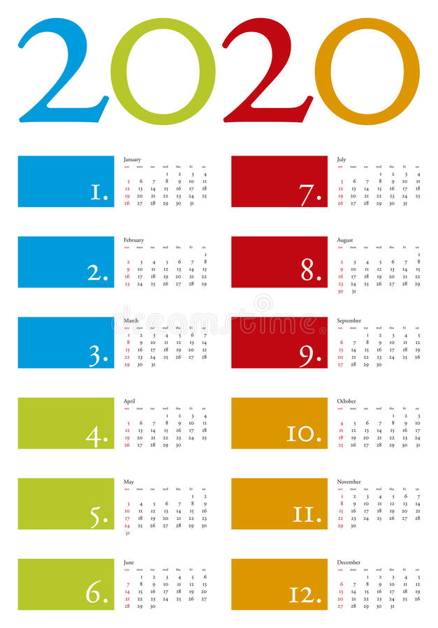 Calendario variopinto per l'anno 2020 nel formato di vettore fotografie stock libere da diritti
