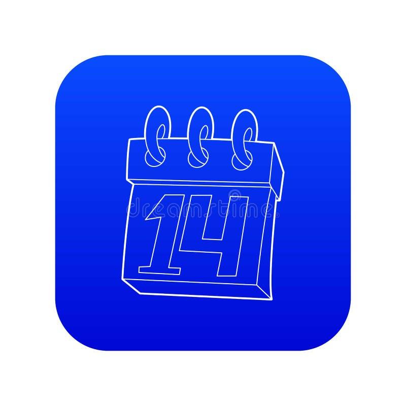 Calendario vector azul del icono del 14 de febrero ilustración del vector
