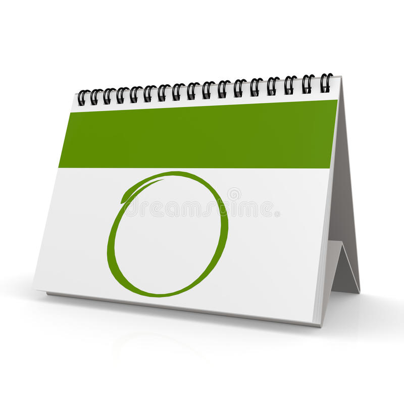 Calendario verde in bianco royalty illustrazione gratis